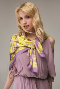 Одежда из льна Платок «Солнечный фиолет»