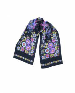 Платки Черная шаль «Волшебные Жар-птицы»