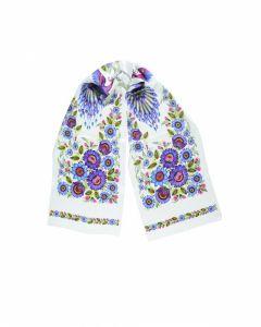 Платки Белая шаль «Волшебные Жар-птицы»
