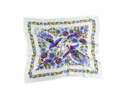Белый платок «Волшебные Жар-птицы»