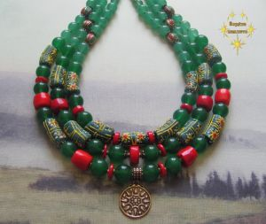 "Beaded necklaces Намисто-зґа́рда ""Сяйво зеленої зорі"""