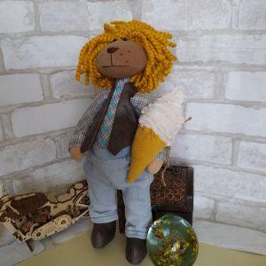 Куклы ручной работы Лев текстильный