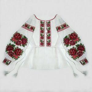 Вышиванки ручной работы Вышивка Розы. Женская рубашка с рукавом бохо из льна батиста