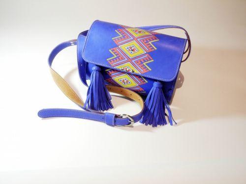 Синяя молодежная сумочка с кожи