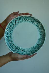 Керамика ручной работы Тарелка из серии Кружево