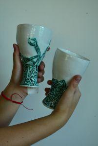 Керамика ручной работы  Бокалы из серии Кружево