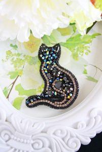 """Жованик-Товстолєс Ірина Брошка """"Чорна кішка"""". Подарунок-сувенір. Подарунок онучці. Подарунок дочці."""