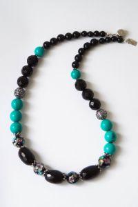 Ожерелье агатово-бирюзовое