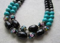Ожерелье бирюзово-агатовое