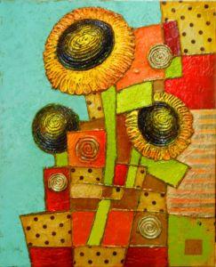 Нарисованные картины Подсолнухи
