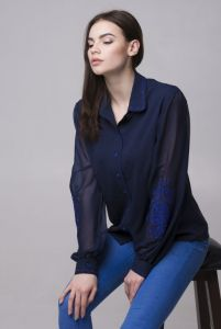 """Блузки вышиванки Блуза """"Цветок индиго"""""""