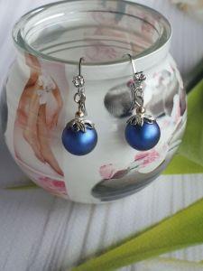 Сині сережки Сережки з перлами Сваровськи Ніжність