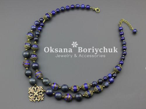 """Ожерелье """"Синяя хохлатка"""" - изображение 1"""