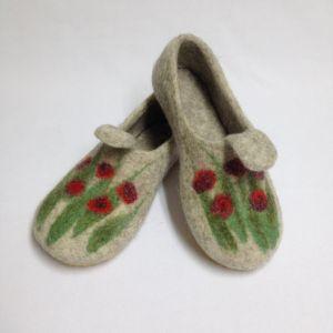 Обувь ручной работы Домашние валяные тапочки