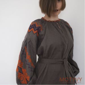 MOTYVY Вышитое платье Оранжевое пламя