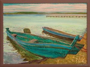 """Нарисованные картины """"Лодки на озере в с. Песочном"""""""