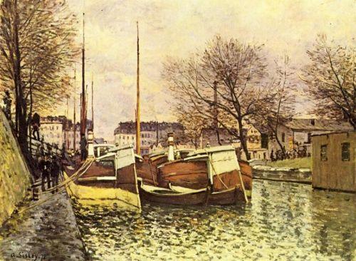 Лодки на канале Сен-Мартен в Париже