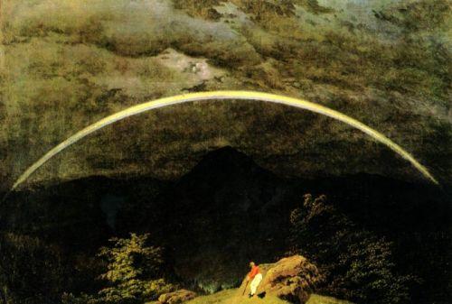 Горный пейзаж с радугой