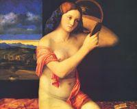 Голая молодая женщина перед зеркалом