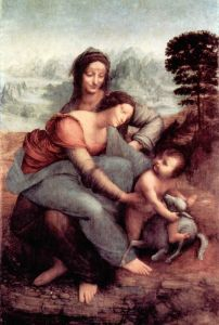 Леонардо да Винчи Анна, Мария и младенец Иисус