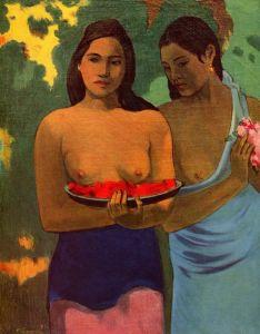 Гоген Поль Две девушки с цветами манго