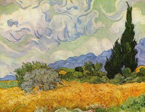 Пшеничное поле с кипарисами