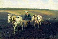 Пахарь Лев Толстой на пашне