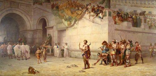 Император Коммод покидающий арену гладиаторов