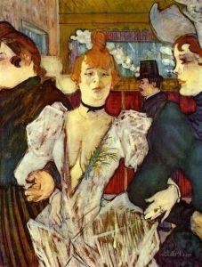 Тулуз-Лотрек Анри де Ла Гулю, входящая в Мулен Руж с двумя женщинами