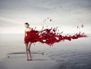 Модель в красном