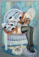 Девочка с куклой и кошкой
