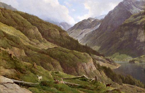 Горный пейзаж с пасущимися козами