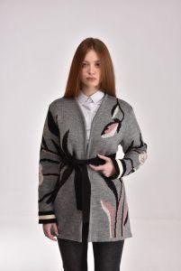 Модний жіночий одяг Кардиган Квітка сірий