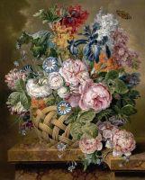Натюрморт с корзиной цветов на мраморном выступе