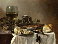 Натюрморт с сельдью, вином и хлебом