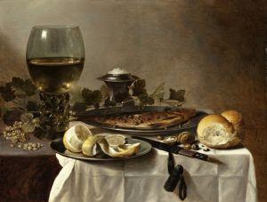 Клас Питер Натюрморт с сельдью, вином и хлебом