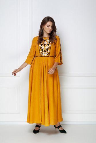 Платье-макси «Мэри» охрового цвета