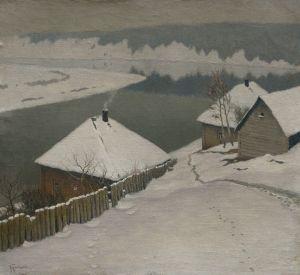 Гермашев Михаил Зима. Дома у реки