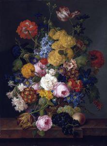 Барокко Натюрморт с цветами и фруктами на каменном выступе 2