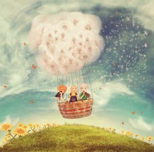 Фотокартины для интерьера Дети на воздушном шаре