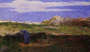 Символизм Альпийский пейзаж с женщиной у источника