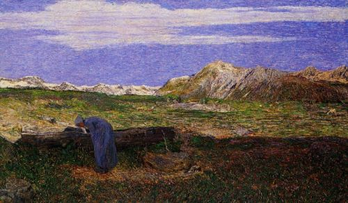 Альпийский пейзаж с женщиной у источника