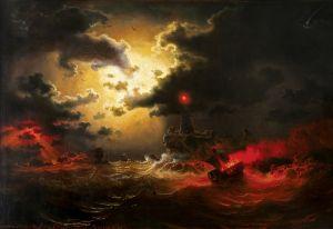 Море при лунном свете, маяк и горящий пароход