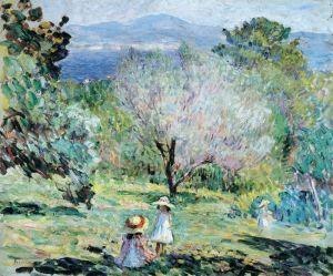 Девушки в средиземноморском пейзажи