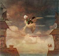 Маленький мальчик на Пеликане в небе
