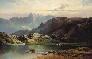 Брински Альфред де Cattle watering at the edge of a loch late afternoon