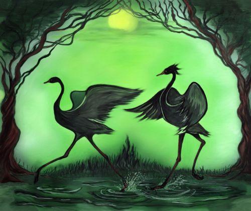 Танцы на воде двох кран