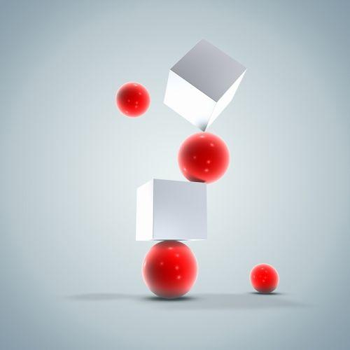 Белые кубы и красные шарики