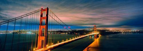 Панорамный вид на мост Золотые ворота в ночное время