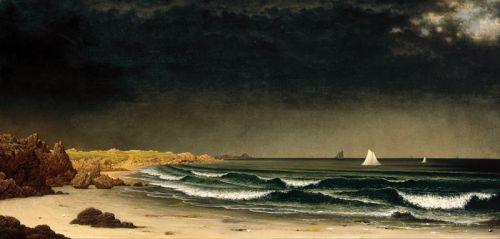 Приближающийся шторм, пляж недалеко от Ньюпорта